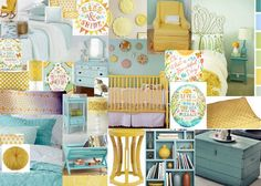 bedroom + baby room (love the yellow and blue! would probably add green too!)