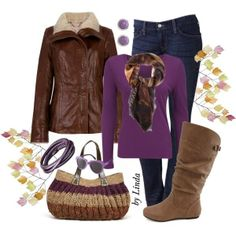 """""""Purple & Brown Fall Outfit"""" by lindakol on Polyvore"""