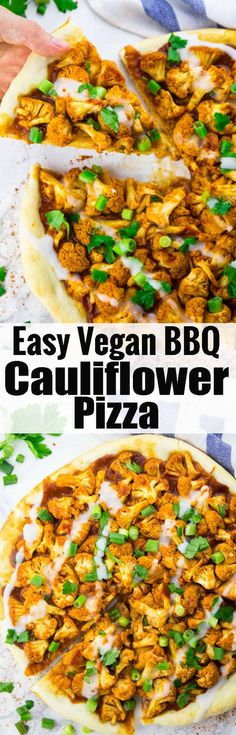 If you like pizza recipes, you will LOVE this easy vegan BBQ pizza with cauliflower and garlic sauce! It's the ultimate vegan comfort food and it makes such a delicious vegan dinner! More vegan recipes at veganheaven.org !