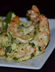 Green Lightning Shrimp! The marinade: Cilantro, jalapeños, scallions, garlic, salt, pepper, cumin, and olive oil.