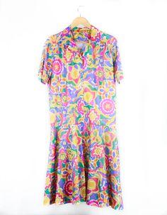 Vintage 80s Pastel Print Summer Dress by FannyAdamsVC on Etsy