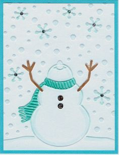 This week at Operation Write Home the mid week throwdown is for a winter card.   Darice embossing folder  Recollections white glossy card...