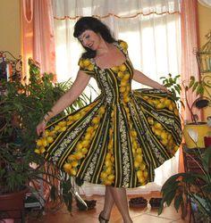 Pinup dress 'Lilly dress in Lemon stripes' Lemon rockabilly dress, lemon, floral gathered skirt by PinupDollCollection on Etsy