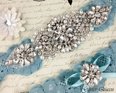 Heirloom Rhinestone and Crystal garters / http://www.deerpearlflowers.com/wedding-garters-sets-from-etsy/3/