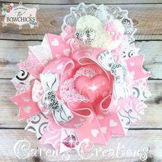 Valentine's day bow, Valentine, stacked boutique bow, hair bow, pretty in pink, over the top, hearts, girls hair accessories
