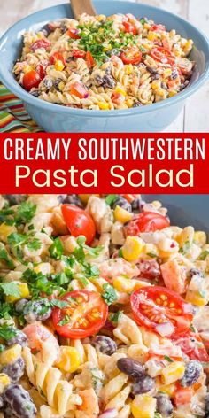 Mexican Pasta Salad is sure to be a hit at the barbecue or alongside any summer meal! It is loaded with black beans, corn, red peppers, and so much more. A creamy Southwestern Dressing gives it a kicked-up zesty flavor, but Greek yogurt keeps it light. Plus you can make it with gluten free noodles! Salad Recipes For Dinner, Healthy Pasta Recipes, Healthy Pastas, Healthy Salad Recipes, Clean Eating Salads, Clean Eating Recipes, Mexican Pasta, Dairy Free, Gluten Free