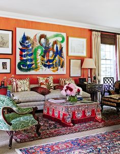 Dramatic use of color and pattern in this living room and comes this close to being too busy