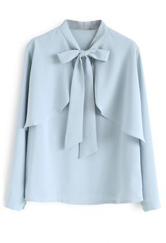 design of blouse Crush on Casual Bowknot Cape Sleeves Top in Blue - Long Sleeve - TOPS - Retro, Indie and Unique Fashion High Street Fashion, Teen Fashion Outfits, Girl Fashion, Fashion Dresses, Indie Fashion, Fashion Clothes, Retro Fashion, Muslim Fashion, Hijab Fashion
