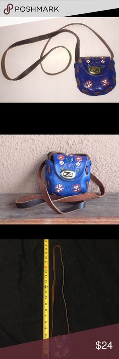 "Girls tooled leather boho hippie handbag VINTAGE Girls vintage shoulder bag.  18"" from top of shoulder to top of bag.   Bag is 4 x 3 1/4 x 2.      Beautiful rich blue leather with flowers painted on front and flap. Raw leather inside with 'Mexico' stamped inside. leather  Accessories Bags"