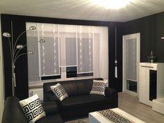 Designer Gardine, Esszimmer, Maßgefertigt, Modern schwarz/weiß, Schiebegardine