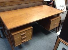 Teak Desk.    70's - Teak desk 56 inches by 28 inches deep by 29 inches tall.  3 drawers plus file drawer.  Price $350.00   - http://takeitorleaveit.co/2013/10/11/teak-desk-70s/