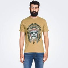 Mustard yellow half-sleeved T- shirt. Ribbed round neck. Skull chief print at the front. starting Rs.299/-  buy here...http://zovi.com/skull-chief-mustard-graphic-t-shirt--00098202201