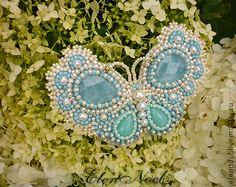 Аквамариновые бабочки броши - голубой,бабочка,бабочка брошь,нежность,аквамарин