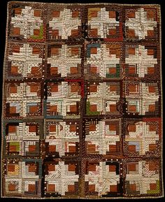 Crib Quilt, Log Cabin pattern, Light and Dark.  Probably Anna Susan Ruddick Trowbridge (1869–1949).