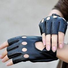 Sale Trendy Charming Hollow OutOutdoor Black PU Leather Half Finger Gloves
