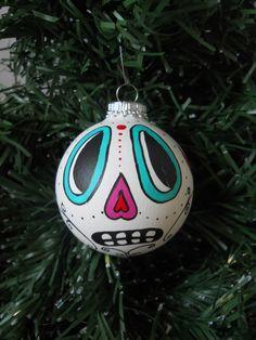 Day of the Dead sugar skull ornament Halloween Dia de los Muertos. $12.00, via Etsy.