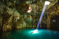 the Cenote X'Keken, a cave with a pool of water located in Dzitnup in Yucatan    Went here in 2008!
