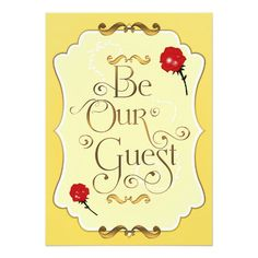 "BE OUR GUEST Red Roses Elegant Event Invitation 5"" X 7"" Invitation Card"