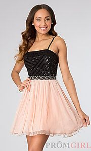 Buy Short Spaghetti Strap Dress by As U Wish at PromGirl