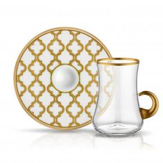 LUXURIOUS TURKISH TEA GLASS SET FOR SIX, WHITE AND GOLD