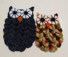 Dark Blue Crochet Crocodile Stitch Owl by TheSteadyHand on Etsy, $15.00