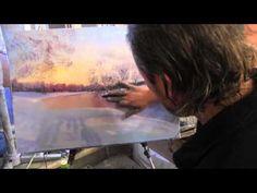 Зима Закат, художник Игорь Сахаров, уроки рисования, живопись маслом - YouTube