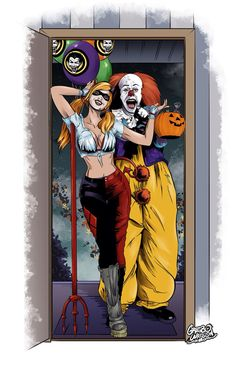 Harley Quinn and Pennywise - Halloween by gregbo on @DeviantArt