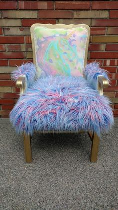 Accent Chair Unicorn Nursery Faux Fur Chair Watercolor Art Splatter Paint Art is part of Unicorn bedroom - Accent Chair Unicorn Nursery Faux Fur Chair Watercolor Art Splatter Paint Art NurseryChair Awesome