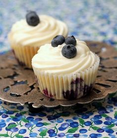 Lemon blueberry Cupcakes -- would be great for a shower or a brunch.