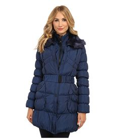 Betsey Johnson Belted Down Filled Coat w/ Faux Fur Collar Marine Navy - 6pm.com