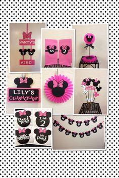 Decoraciones de cumpleaños de Minnie Mouse lote - puerta de centro de mesa de Banner letrero personalizado