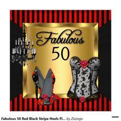 Fabulous 50 Red Black Stripe Heels Flirty Birthday 5.25x5.25 Square Paper Invitation Card