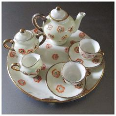 Pretty Dollhouse Porcelain Tea Service With Platter Occupied Japan Tea Sets Vintage, Food Displays, Tea Service, Dollhouse Dolls, White Porcelain, Cutlery, Platter, Tea Time, Dinnerware