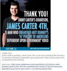 "Romney's ""47% video"" from Carter's grandson"