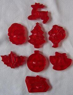 9 Vtg CHRISTMAS Red Clear Plastic COOKIE CUTTERS Hong Kong TREE Santa REINDEER
