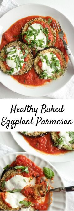 The secrets on how to make easy healthy baked eggplant parm with panko bread crumbs and fresh mozzarella! 398 calories per serving via Andie Mitchell - Healthy Baked Eggplant Parmesan Veggie Recipes, Vegetarian Recipes, Cooking Recipes, Healthy Recipes, Healthy Eggplant Recipes, Italian Eggplant Recipes, Italian Foods, Clean Eating, Antipasto