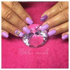 Nikka nails, purple, 3D flower, glitter
