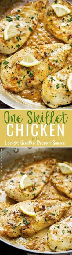 One Skillet Chicken topped with A Lemon garlic Cream Sauce - Ready in 30 minutes are perfect over a bed of angel hair pasta! #lemonchicken #skilletchicken #oneskilletchicken | Littlespicejar.com @Marz (Baking Salmon Lemon)