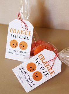 Orange you glad we are friends? ~ cute Valentine's Day idea, Valentine kids, kids at heart