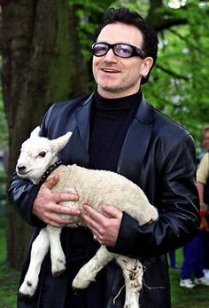 Bono, on St Stephen's Green, getting the Freedom of the City award (one historic perk is the freedom to graze sheep on the green)