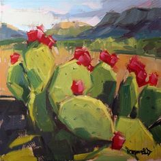 Cathleen Rehfeld: Prickly Pear Cactus in Big Bend Cactus Painting, Cactus Art, Cactus Flower, Painting Flowers, Flower Bookey, Flower Film, Flower Pots, Landscape Paintings, Watercolor Paintings