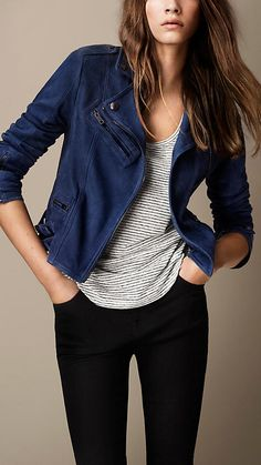 Burberry Canvas Blue Nubuck Biker Jacket - A biker jacket in nubuck with exposed multi-zip detailing at the front, cuffs and pockets. Adjustable buckle side tabs create a close fit. Discover the women's outerwear collection at Burberry.com