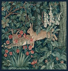 "Morris & Co ~ ""Greenery"" Tapestry (detail of rabbits), 1892 