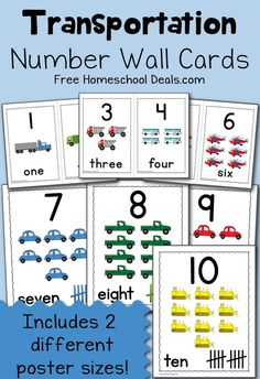 FREE Transportation Number Wall Cards to help your preschooler with number recognition and counting.