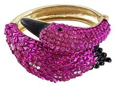 Off Park Collection (Tm) Gold Tone Crystal And Black Enameled Pink Flamingo Bangle