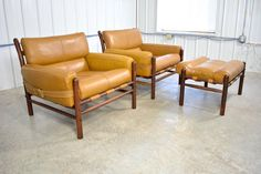 """Arne Norell """"Kontiki"""" Leather and Rosewood Chairs and Ottoman 6"""