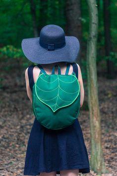 Dark Green Leaf Boho BackpackWaterproof Canvas by LeaflingBags