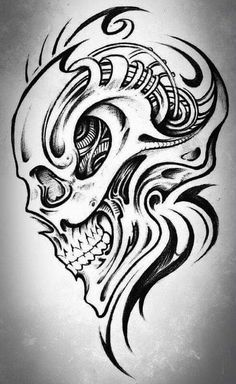 Zeichnungen Einfach: More easy flaming skull drawings - Awesome Art Pins Tribal Tattoos, Skull Tattoos, Body Art Tattoos, Skull Tattoo Design, Skull Design, Tattoo Designs, Kunst Tattoos, Tattoo Drawings, Art Drawings