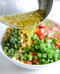 Summer Chickpea Salad with Honey Garlic Lime Vinaigrette