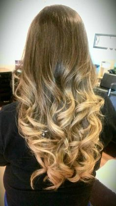 Ombre hair.. brown to golden blonde for my sister